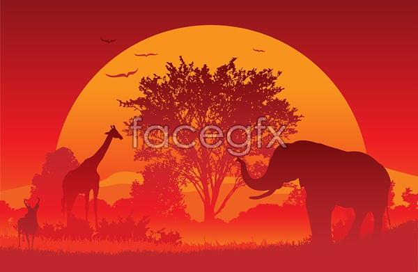Under the sunset Africa vector
