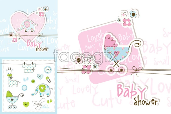 Baby theme element cards vector