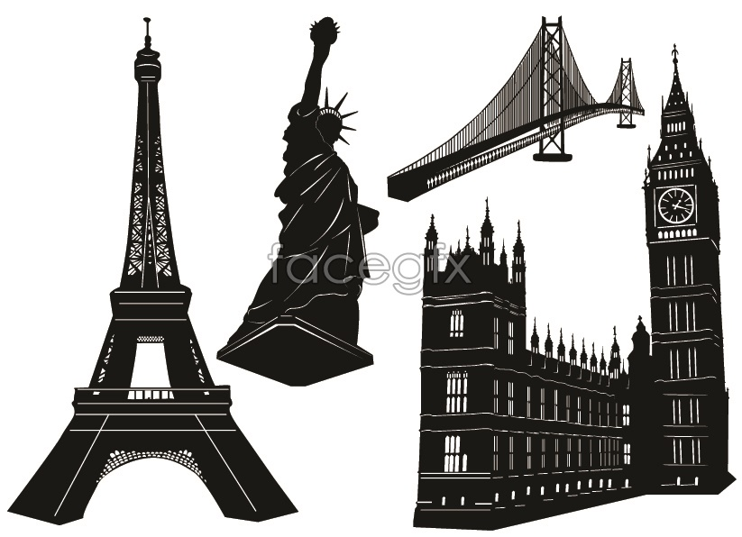 Famous black and white buildings vector