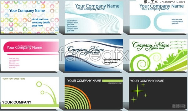 9 simple card template vector