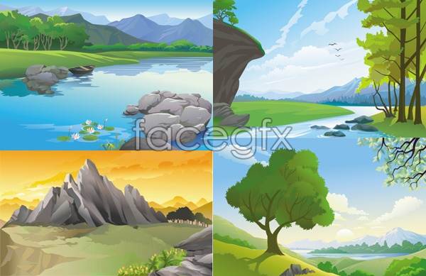 Beautiful landscapes vector