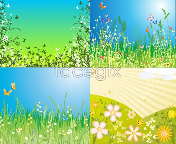 Butterflies and flowers vector material