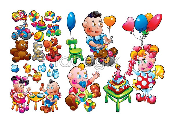 Child toy themes vector