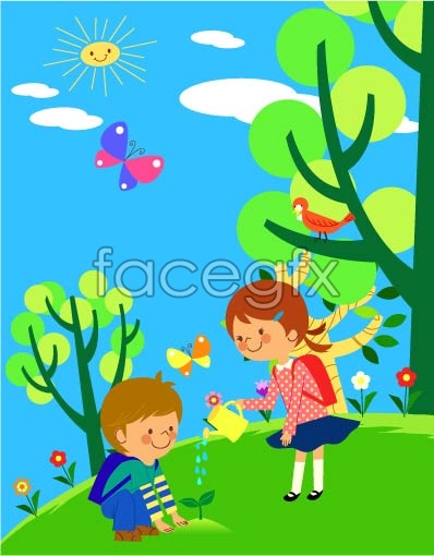 Children's ecological environment 2 vector
