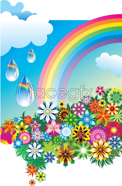 Colorful flower Rainbow vector