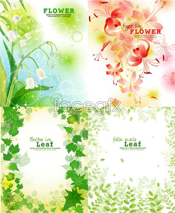 Flowers green leaf vector