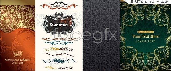 Four European-style silver spoon pattern vector