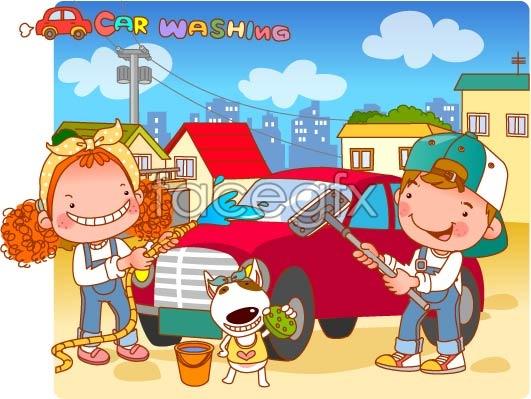 Head girl-car wash vector