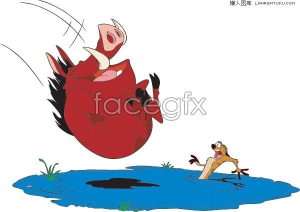 Lion King of the wild boar, Penghu Penghu cartoon vector illustration