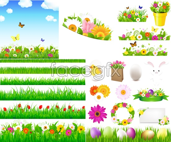 Spring flowers and green grass vector