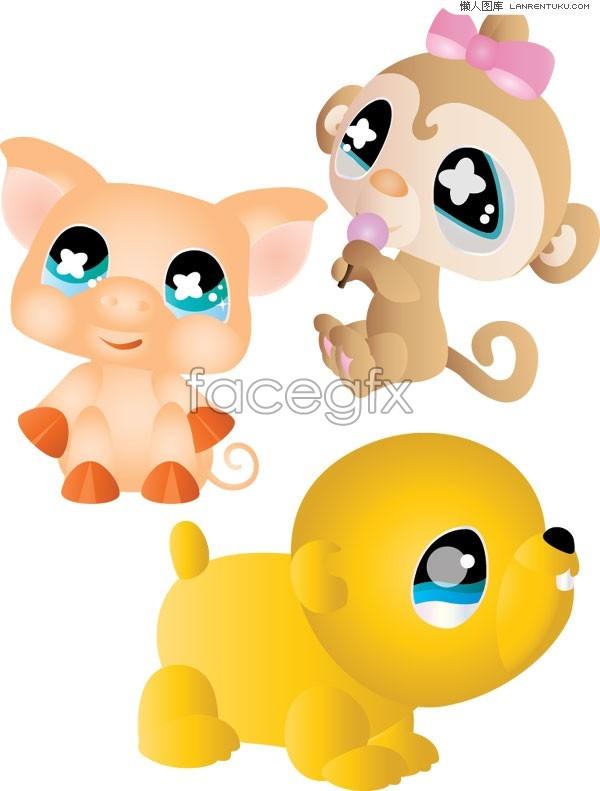 Super cute cartoon monkey, pig and dog vector
