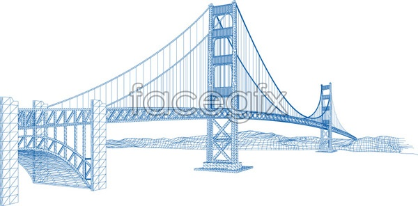 The Golden Gate Bridge in a line graph vector