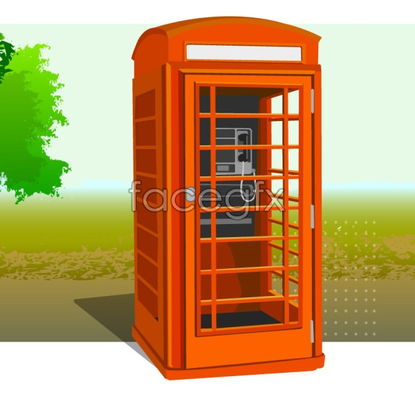 Vector IC telephone booth