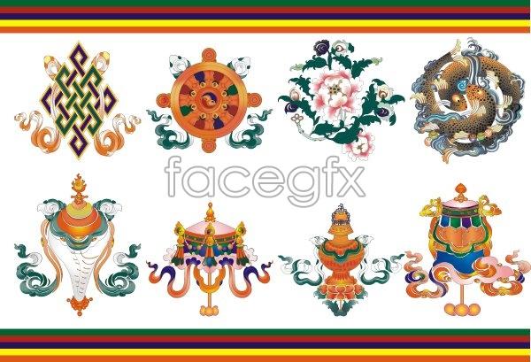 Auspicious in Tibet babao vector