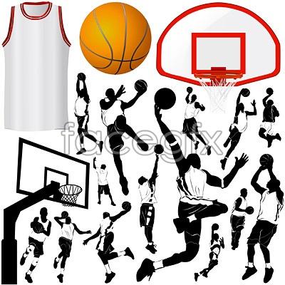 Basketball elements vector
