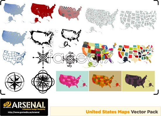 Colorful United States map module vector