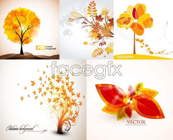 Creative autumn plants vector