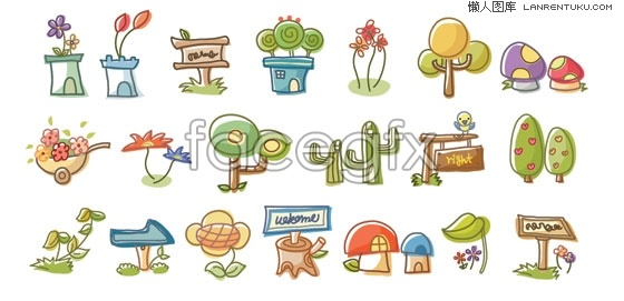 Korea line plant vector cartoon elements