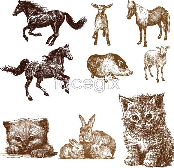 Line release animals vector