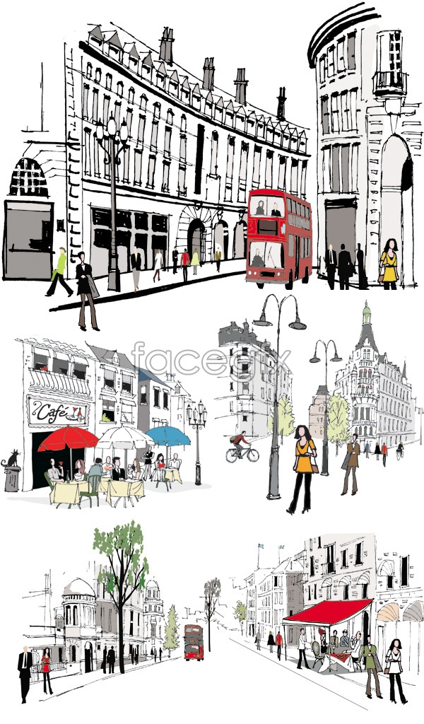 Painted city streets vector