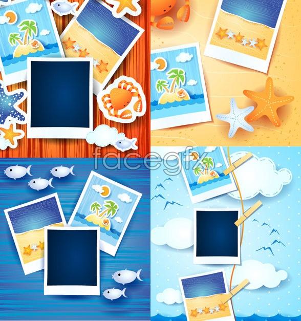 Photo album frame template vector