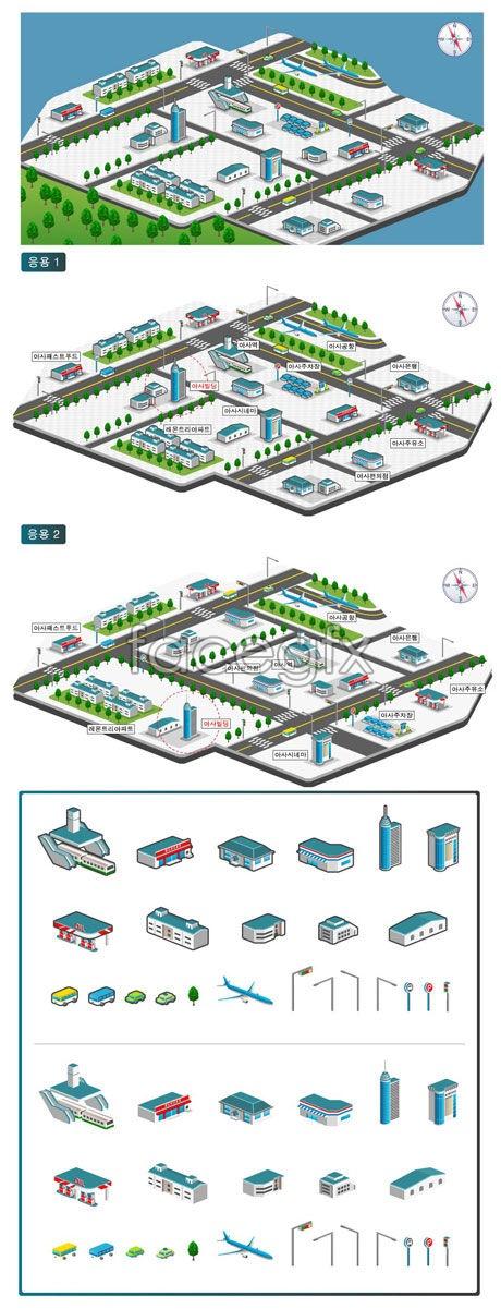 Town plan element 3 vector