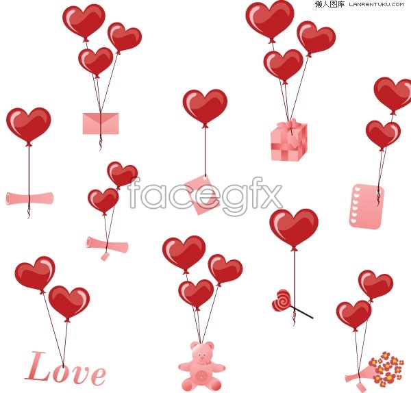 Valentine's greetings balloon vector