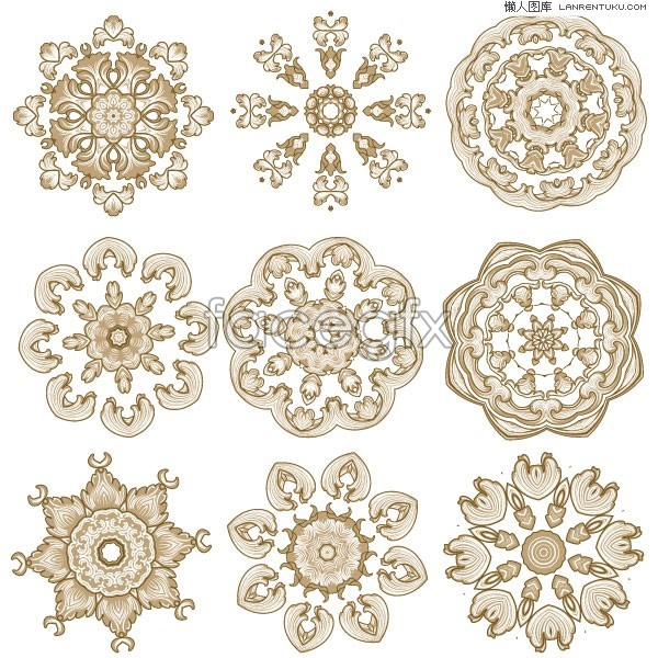 Variety of classical circular pattern vector