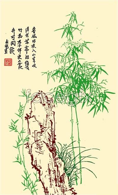 Vector bamboo stone figure 2