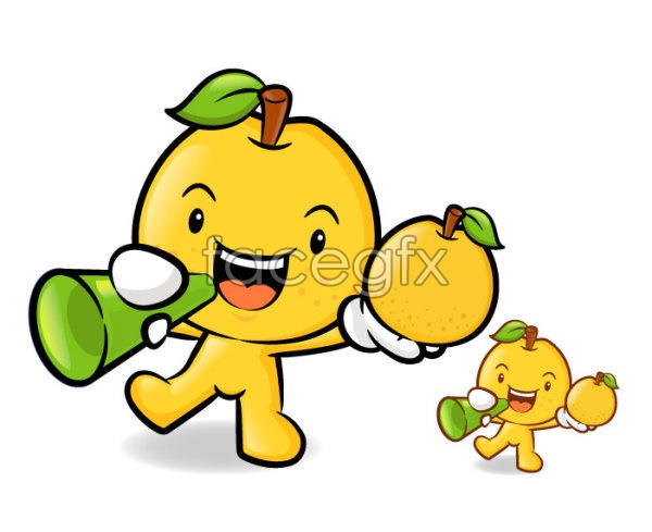 Yellow cartoon PEAR vector