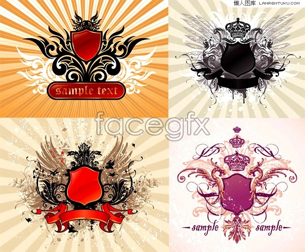 4 current Crown shield decoration patterns vector