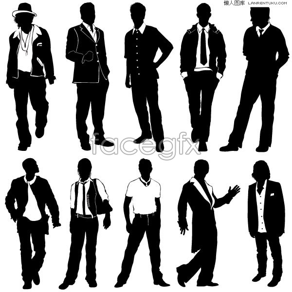 10 different style male model silhouettes vector
