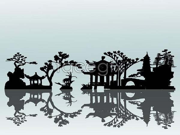 Chinese garden elements vector