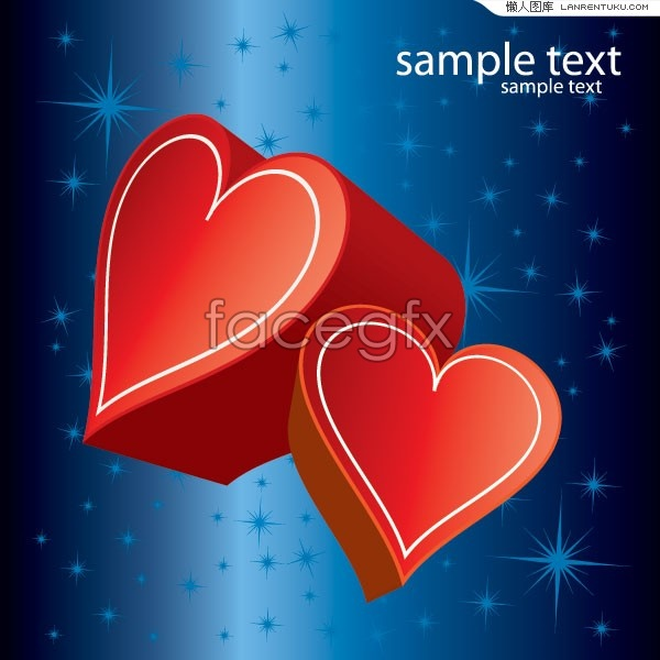 Stereo blue background red hearts vector