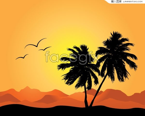 Rolling hills and mountains and Palm tree silhouette vector