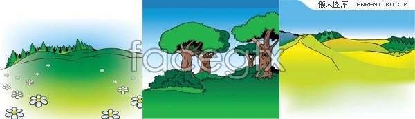 3 outdoor scenery cartoon vector