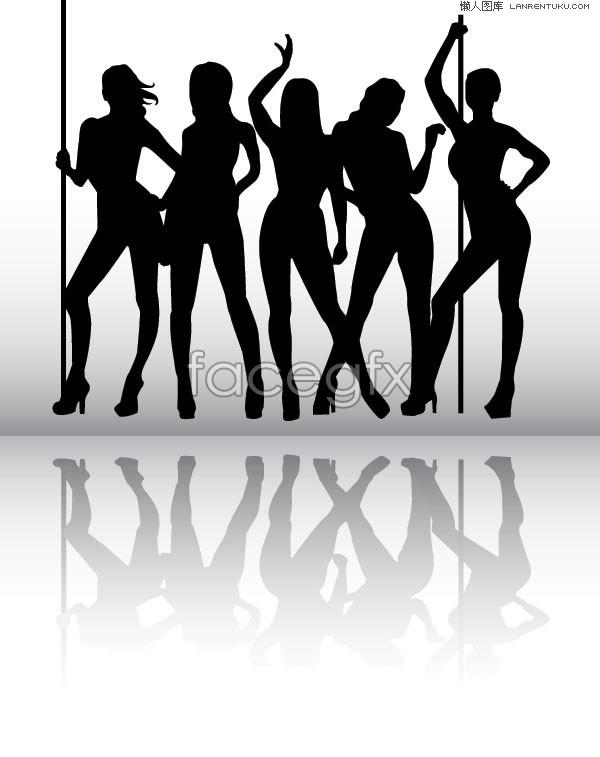 Pole-dancing girl silhouette vector