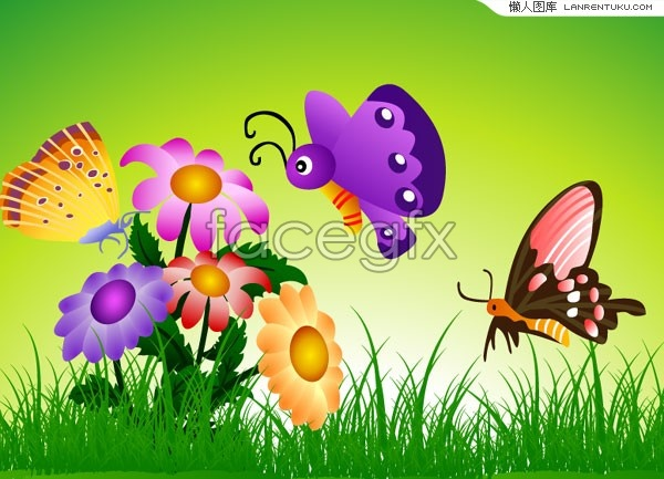Butterfly landscape, vibrant flowers vector
