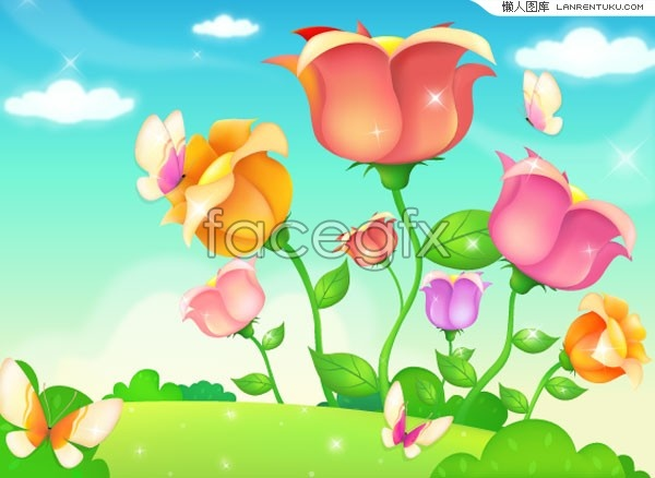 Korea style floral Butterfly vector