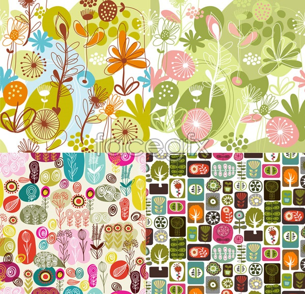 Lovely Flowers And Plants Cute Cartoon Backgrounds Vector ...