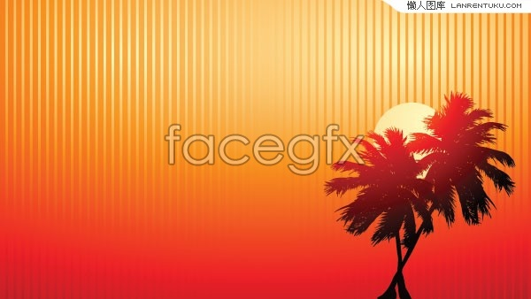 Coconut tree under the setting sun silhouettes vector