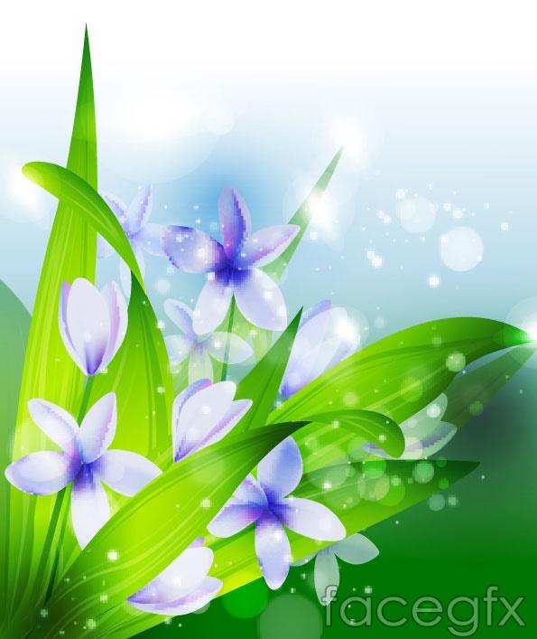 Beautiful flowers vector transparent spot
