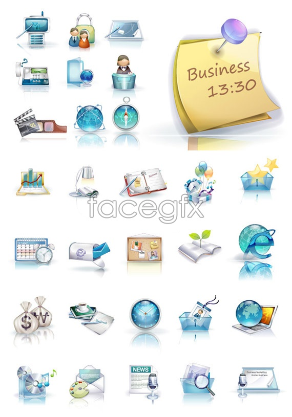 3D business icons vector
