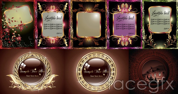 8 Gold pattern graphics vector