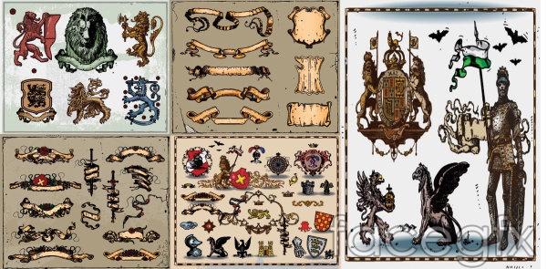 Ancient heraldic vector