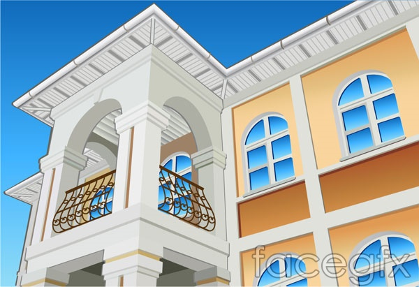 Architectural series vector a corner of the House buildings