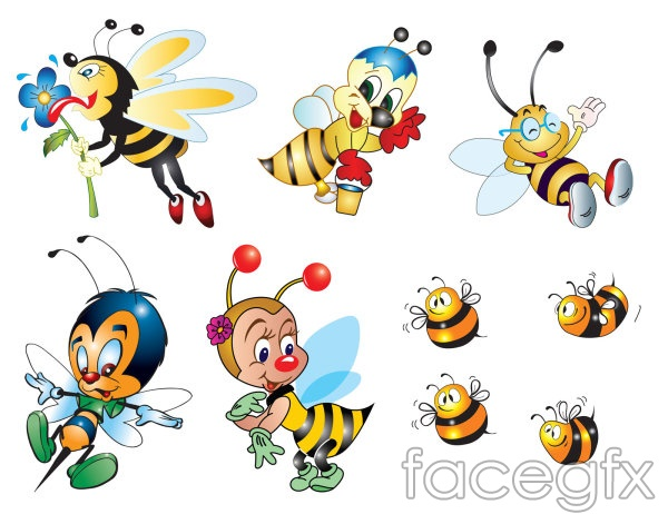 Bee cartoon feelers flowers vector