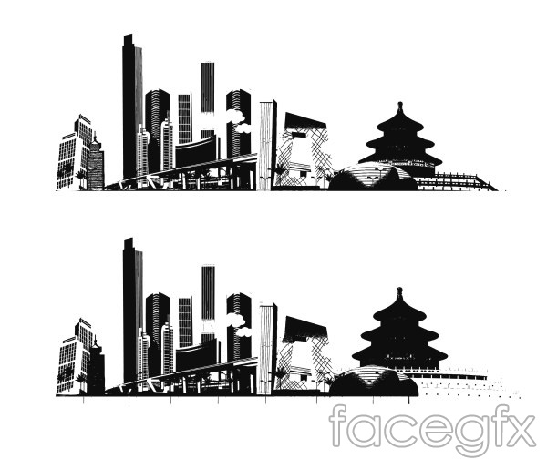 Beijing impressed vector high-rise building