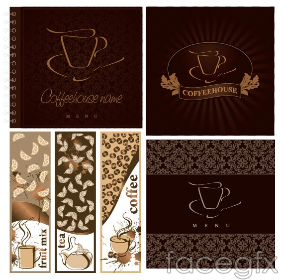 Cafe menu covers vector