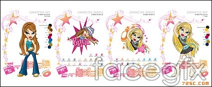 Cartoon fashion Queen vector map